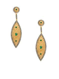 Loren Jewels Champagne Diamond & Emerald Multi-Shape Drop Earrings Pinned by divandisguise.com