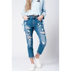 Blue wash jeans bird embroidery  #women #beautiful #shopping #girls #getit #fashion #designers #pretty #sexy #love