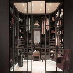 Closet Organization Ideas Pictures, Plans and Storage Ideas featuring walk-in closets and simple closet organizers and closet designs for small rooms. Walk In Closet Design, Bedroom Closet Design, Design Room, Closet Designs, House Design, Dressing Room Closet, Dressing Rooms, Wardrobe Room, Dressing Room Design