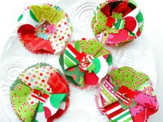 Christmas Appliques Fabric Flowers Gift Topper by Itsewbella