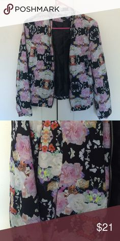Floral pilot jacket Funky, in good condition H&M Jackets & Coats