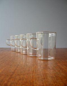 Vintage Modern German Schott Glass Cups  Jenaer Glas by luola