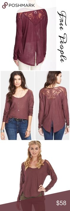 "Free People Gatsby Embroidered Top 3/4 sleeve top features pretty Embroidered detailing in a rayon blend Bust-19.5"" across laying flat. 21"" across Stretched Length- 25"" approx front part 28"" approx back part v-neck. 3/4 sleeve. Embroidered patch with mesh detail  Slit on front hem and center back This is a NWOT Top, tag is cut to prevent store return Free People Tops"
