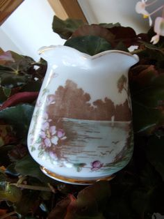 Vintage Milk Glass Vase with beautiful transferware scenes by lookonmytreasures on Etsy