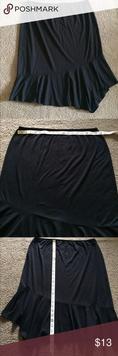 Weekenders XL- black elastic waist skirt Super comfy black skirt! Elastic waist measures 17.5 inches without stretching it.  Great basic to add to your closet! Happy Poshing😊 Weekenders Skirts Asymmetrical
