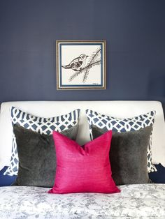 pink + navy bedroom. love the navy trellis pillows and the pop of pink