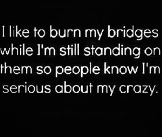 I like to burn my bridges while I'm still standing on them so people know I'm serious about my crazy. THey I don't think anyone doubts my Crazy Quotes To Live By, Me Quotes, Funny Quotes, Hater Quotes, Girly Quotes, Badass Quotes, The Words, Thats The Way, That Way