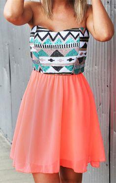 Aztec/pink dress