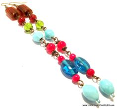 Handcrafted Costume Jewelry Vintage Blue Red by hoopsanddangles, $9.99
