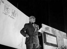 Portrait Of Architect Le Corbusier At Milano In Congress De Divina Proportion In 1953