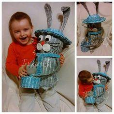 Zajačik na veľkú noc Willow Weaving, Basket Weaving, Newspaper Crafts, Quilling, Wicker, Diy, Knitting, Children, Handmade