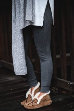 grey toned cozy loungewear and slippers #fallstyle #styleblogger