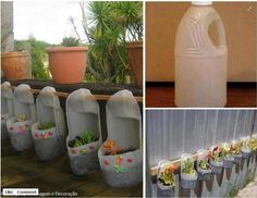 use gallon jugs as plant hangers for a fence or wall.