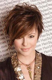 cute, asymmetrical short hair style.