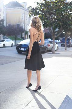 5 black cross back slip dress burgundy oversized chunky long cardigan lace up heels day to night work office style fashion blog san francisco memorandum