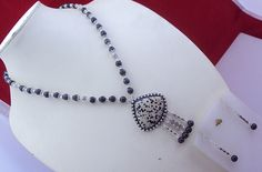 free shipping  f-106 stunning Dalmatian-Black Onyx .925 silver beaded necklace by SILVERHUT on Etsy
