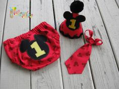 Baby Boy Toddler First Birthday Mickey Mouse Diaper Cover, Tie & Party Hat -- Photo Prop on Etsy, $50.00
