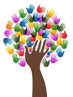 Isolata colorata diversit� mani albero di fondo da sfondo bianco