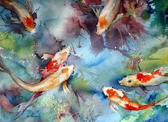 "Watercolor Artists International - Contemporary Fine Art International: Sea Life Koi Fish Art Painting ""Feeding Time"" by Georgia Artist Pat Warren"