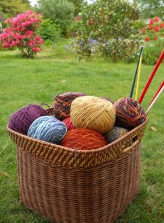knitting basket - want to learn how to knit.  Mom taught me when I was a kid.  I think I can pick it up again.
