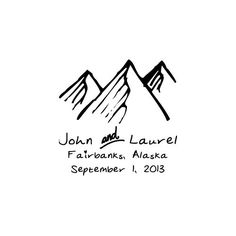 Rustic Wedding themed custom rubber stamp mountains by terbearco, $29.99