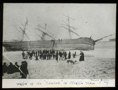 """The """"Berbice"""" was a ship, composite, 717 tons. #55470. Built Scotland, 1868; reg. Greenock, UK. Captain Ross. Swept on to the Oyster Bank, Newcastle, in a gale and lost, 5 June 1888.The Newcastle rocket crew were quickly on the scene and after a line had been fired out to her, all the crew were brought to safety.  Information thanks to the Encyclopedia of Australian Shipwrecks oceans1.customer.netspace.net.au/newcastle-main.html  This image was scanned from the original glass positive. It…"""