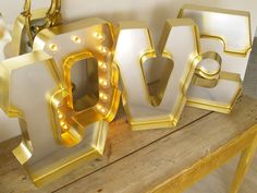 INFINITY LOVE with GOLD edging and Holywood Lights in the O: Carnival Letters Light Up Letter Lamp Great for Wedding Decoration