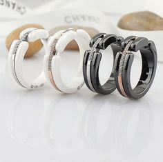 Latest 316L Stainless Steel Rose Gold  Inlay Rhinestone Black/White Ceramic Lover Ring