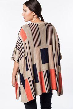 Plus Size Mocha Graphic Knit Kimono Cardigan #plussizetops #plussizecardigan #plussizefashion