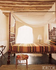 "This is a whole other level of ""eclectic"". Moroccan bedroom shot by Elle Decor."