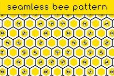 Seamless bee pattern by stockimagefolio on Bee Honeycomb, User Interface Design, Graphic Patterns, Background S, School Design, Icon Set, Diy Art, Design Bundles, Free Design