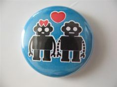 Robot love pin from Gnipmac on Etsy