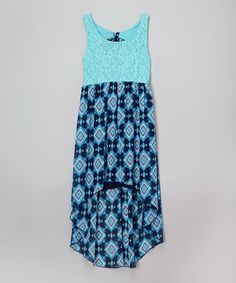This Turquoise & Navy Abstract Lace Hi-Low Dress - Girls is perfect! #zulilyfinds