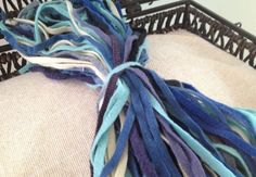 All the Blues Grab Bag Mix - 100 Primitive Hand Cut Wool Strips for Rug Hooking