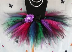 "Girls Tutu Skirt - Birthday Tutu - Black Pink Green Blue Purple Tutu - Gemstone Beauty - Sewn 11"" Pixie Tutu - up to 5T - Photo Prop"