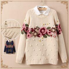 Farah Diba, Knitted Flowers, Fair Isle Knitting, Sweater Coats, Lana, Christmas Sweaters, Knitwear, Knit Crochet, Knitting Patterns