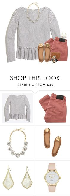 """Lunch date with my bestie at Chick-Fil-A  Read D⬇️⬇️⬇️"" by thedancersophie ❤ liked on Polyvore featuring J.Crew, Religion Clothing, Tory Burch, Kendra Scott and Kate Spade"