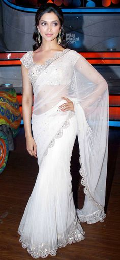Deepika white saree silver border