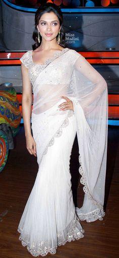Deepika Padukone white saree silver border