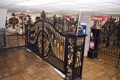 Quality iron-work with balustrades and gates a speciality. Metal Fence Gates, Gates And Railings, Wrought Iron Fences, House Gate Design, Door Gate Design, Main Door Design, Custom Gates, Steel Gate, Grades