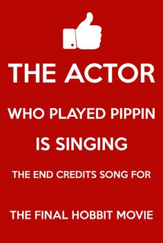"""So excited and heartbroken all at once! Read today that Billy Boyd, who played Pippin in LOTR, is going to sing """"The Last Goodbye"""" as the final credits song for the Middle-Earth movies when the final Hobbit movie is released this December. He co-wrote the song with Fran Walsh and Philippa Boyens. Of course we all know the song he sang in ROTK - he has a lovely voice! And what better way to bring this movie series full circle than to have a member of the original Fellowship sing us goodbye…"""