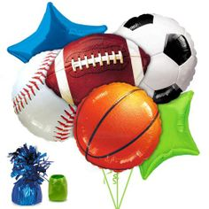 Sports Theme Birthday Balloons-like this all sports grouping with stars.