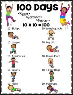 100 Days of School Celebration Workout for PE, Brain Breaks & Active Classrooms health activities health care health ideas health tips healthy meals Physical Activities For Kids, Elementary Physical Education, Elementary Pe, Pe Activities, Exercise Activities, Movement Activities, Health Activities, Fitness Activities, Kid Exercise Games