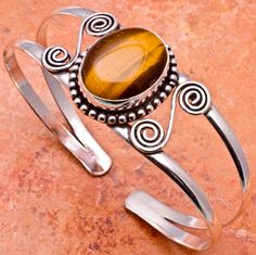 Checkout this amazing deal Genuine Tiger's Eye Silver Plated Cuff Bracelet,$15