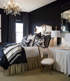Joy Tribout Interior Design  THOSE BLACK WALLS AGAIN--KILLING ME SOFTLY-- I CAN'T DECIDE