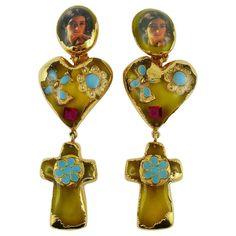 View this item and discover similar for sale at - CHRISTIAN LACROIX vintage massive Baroque dangling earrings (clip-on) featuring resin inlaids in a gold toned setting. Marked CHRISTIAN LACROIX CL Made Walmart Jewelry, Jewelry Stores, Funky Jewelry, Handmade Jewelry, Buy Costumes, Cross Jewelry, Christian Lacroix, Jewellery Display, Fashion Necklace