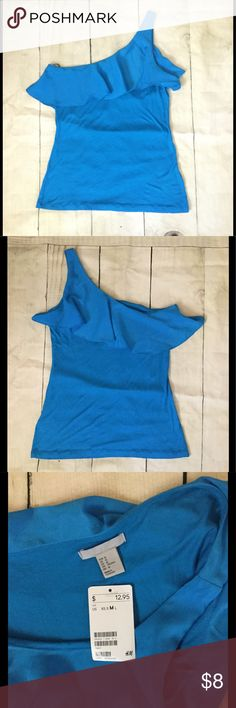New One Shoulder Blouse Tank Top Ruffle New one shoulder tank top with ruffle. Soft stretchy fabric H&M Tops Tank Tops