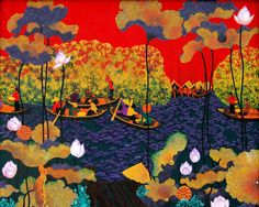 lotus paintings oils - Google Search