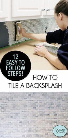 33 Home Repair Secrets From the Pros - Tile A Backsplash - Home Repair Ideas, Home Repairs On A Budget, Home Repair Tips, Living Room, Bedroom, Kitchen Repair, Home Improvement, Quick And Easy Home Tips http://diyjoy.com/diy-home-repair-secrets