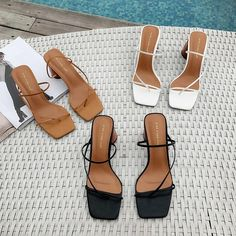 Women Summer Sandals 2019 High Heel Sandals Slippers Slip On Open Toe Sandals Casual Outdoor Slippers Narrow Band Slides-in High Heels from Shoes on AliExpress Open Toe Sandals, Black Sandals, Women's Sandals, Sandal Heels, High Sandals, Black Mules, New Shoes, Shoes Heels, Small Heel Shoes
